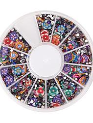 Résine rhinestone polymère argile fleur 3d ongle art boîte brille autocollants mélangés au hasard pour diy décoration roues de 900pcs