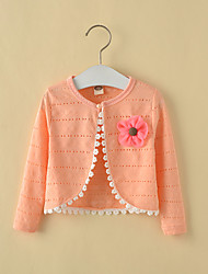 Girls' Cotton White/Pink Long Sleeve Cardigan Jacket