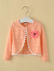 Девочки Куртка / пальто На выход На каждый день Для школы Хлопок Однотонный Лето Весна Осень Длинный рукав