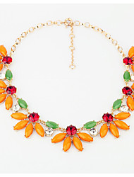 Women's Strands Necklaces Flower Chrome Unique Design Euramerican Orange Jewelry For Casual Christmas Gifts 1pc