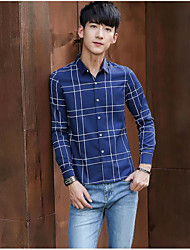 Men's Going out Simple Shirt,Check Shirt Collar Long Sleeve Cotton