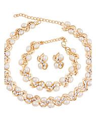 Set de Bijoux Perle imitée Mode euroaméricains Forme Géométrique Or 1 Collier 1 Paire de Boucles d'Oreille 1 Bracelet PourMariage Soirée