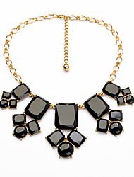 Women's Strands Necklaces Round Square Chrome Unique Design Personalized Black Jewelry For Housewarming Congratulations Casual 1pc