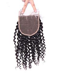 Монгольский кудрявый курчавый кружевной закрытый свободный / средний / три части реми волос 4 * 4 натуральный цвет от 10 до 18 дюймов