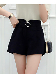 Women's High Rise Inelastic Shorts Pants,Street chic Loose Solid