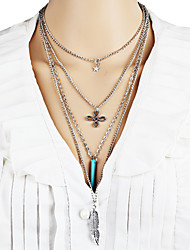 Women's Statement Necklaces Turquoise Bowknot Leaf Alloy Unique Design Dangling Style Bikini Fashion Bohemian Personalized Jewelry For