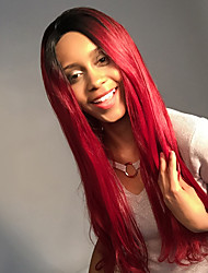 MAYSU  Black And Red Gradient Color Long Straight Hair Front Lace  Synthetic Wig Ethereal  Woman Hair