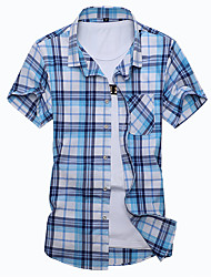 Men's Going out Casual/Daily Plus Size Simple Summer Shirt,Plaid Classic Collar Short Sleeves Cotton Polyester Medium