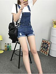 Femme simple Taille Haute Jeans Short Pantalon,Mince Couleur Pleine