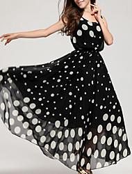 Mujer Corte Swing Vestido Playa Tallas Grandes Simple,A Lunares Escote Redondo Maxi Sin Mangas Acrílico Verano Tiro Medio Rígido Medio