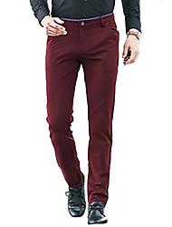 Men's Mid Rise Micro-elastic Business Pants,Simple Loose Solid