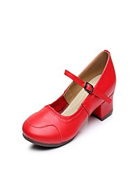 Não Personalizável Feminino Latina Couro Meia Solas Interior Fivela Rendado Salto Baixo Vermelho 2,5 - 4,5 cm