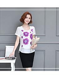 Tee-shirt Femme,Couleur Pleine Plage Chinoiserie Manches Courtes Col Arrondi Coton