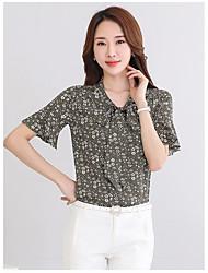 Tee-shirt Femme,Imprimé Décontracté / Quotidien simple ½ Manches Col en V Coton