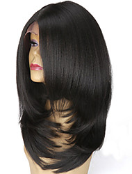 Short Bob Synthetic Lace Front Wigs L Part Layered Italian Yaki Straight Wig Heat Resistant For Women