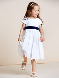 A-line Knee-length Flower Girl Dress - Cotton Jewel with Bow(s) Lace