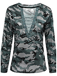 Tee-shirt Femme,camouflage Décontracté / Quotidien Sexy simple Toutes les Saisons Manches Longues V Profond Coton Fin