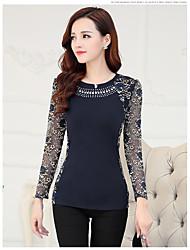 Damen Solide Einfach Lässig/Alltäglich T-shirt,Rundhalsausschnitt Langarm Baumwolle Dünn