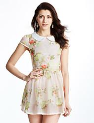 Trapèze Robe Femme Sortie Sophistiqué,Fleur Col Rond Claudine Mini Manches Courtes Polyester Eté Taille Normale Micro-élastique
