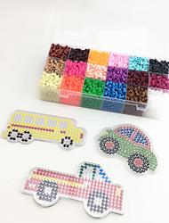 Approx 5400PCS 18 Color 5MM Fuse Beads Set with 3PCS Random Mixed Shape Template Clear Pegboard Car Truck School Bus DIY Jigsaw(Set B 18*300PCS)