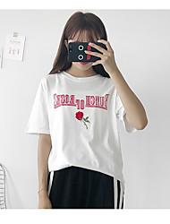 Tee-shirt Femme,Couleur Pleine Décontracté / Quotidien simple Eté Manches Courtes Col Arrondi Coton Moyen