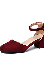 Women's Sandals Summer D'Orsay & Two-Piece Leatherette Wedding Party & Evening Dress Chunky Heel Buckle Hollow-out Red Yellow Beige Black