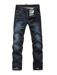 Men's Mid Rise strenchy Jeans Pants,Simple Straight Solid