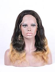 Beata hair lace front wig cabelo humano remy brasileiro hairline natural ombre cor 1b / 27 onda do corpo