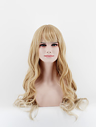 Fashion ladies long wigs gold straight bangs natural song high temperature wire wig