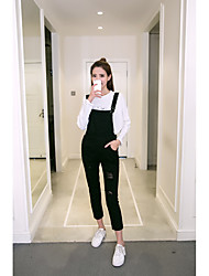 Women's High Rise strenchy Overalls Pants,Cute Loose Straight Solid