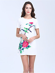 Women's Beach Party Holiday Simple Chinoiserie A Line Sheath Dress,Floral Round Neck Above Knee Short Sleeve Cotton Polyester SummerHigh