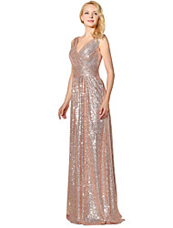 Mermaid / Trumpet V-neck Floor Length Sequined Formal Evening Dress with Sequins by Sarahbridal
