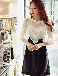 Feminino Evasê Bainha Preto e Branco Vestido,Para Noite Casual Festa/Coquetel Simples Moda de Rua Sofisticado Estampa Colorida Retalhos