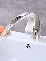 Nickel Brushed Tall Single Handle Lever Bathroom Sink Vessel Faucet