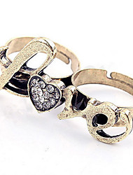 Korean Copper Personalized Rhinestone Women's  LOVE Double Rings Statement Jewelry