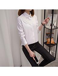 T-shirt Da donna Per uscire SempliceTinta unita Colletto Cotone Manica lunga
