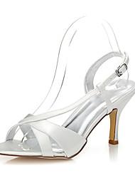 Mujer-Tacón Stiletto-Confort Zapatos del club Zapatos Dyeable-Sandalias-Boda Exterior Oficina y Trabajo Vestido Fiesta y Noche-Seda-