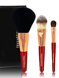 4 Makeup Brush Set Horse Synthetic Hair Travel Portable Wood Face Eye