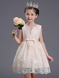 Ball Gown Short / Mini Flower Girl Dress - Cotton Lace Satin V-neck with Bow(s) Buttons