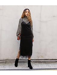 Tunique Robe Femme Sortie Décontracté / QuotidienCouleur Pleine Col en V Maxi Manches Longues Rayonne Printemps Taille Haute