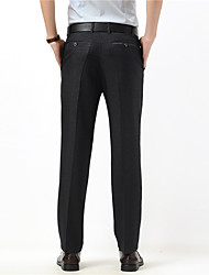 Men's Mid Rise Inelastic Business Pants,Simple Loose Pure Color Solid