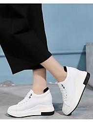 Mulheres s calças de brim conforto da primavera PU branco preto