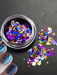 1bottle brilho colorido moda unha arte laser glitter rodada paillette fatia decoração para a beleza da arte do prego 3d p4