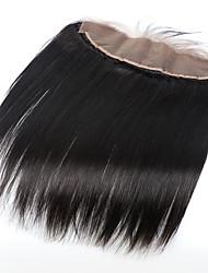 8-20 cierre brasileño virginal del pelo natural de 13x4 negro frontal del cordón con nudos palideció cierre recta frontal del cordón con