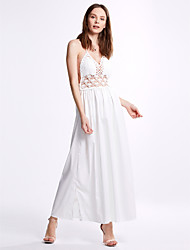 Women's Lace Sexy/Simple Patchwork Chiffon Dress,Halter Maxi Polyester