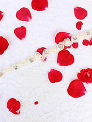 Chiffon Alloy Wedding Party/ Evening Dailywear Sash-Beading Floral Rhinestone Imitation Pearl Beading Floral Rhinestone Imitation Pearl