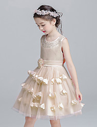 Ball Gown Short / Mini Flower Girl Dress - Satin Tulle Jewel with Bow(s) Flower(s) Sash / Ribbon