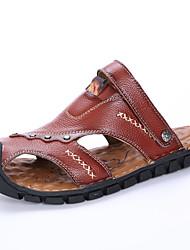 Sandálias masculinas conforto de verão solas PU casual marrom amarelo preto