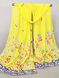 Womens Fashion Chiffon Butterflies and Flowers and Plants Print Vintage /Sexy /Cute / Party / Casual Scarfs 155*50CM