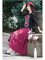 Damen Solide Einfach Formal T-shirt,Rundhalsausschnitt Langarm Baumwolle